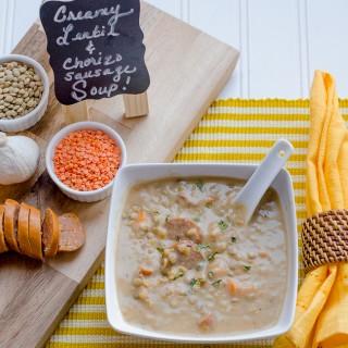 Creamy Lentil Chorizo Sausage Soup & Homemade Flatbread