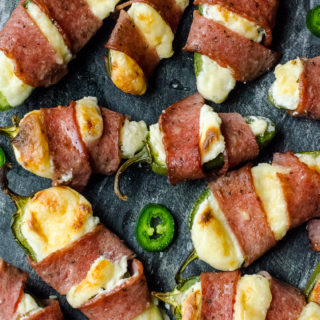 Bacon Wrapped Double Cheese Stuffed Jalapeños